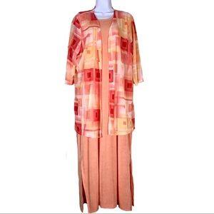 Carolyn Strauss Peach Orange 2 Pc Dress Sz 2X